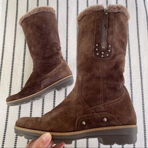 Aquatalia Brown Suede Studded Tall Boot Size 40